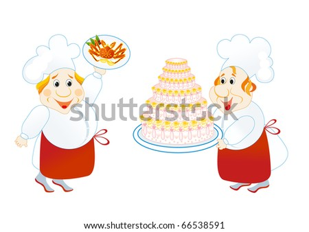 two lucky cooks with cake and crab