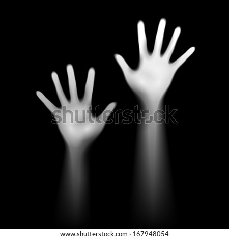 Two 	luminant hands on black. Depression and help concept. - stock vector
