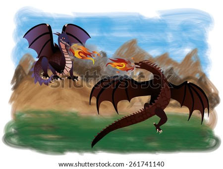 Two magical dragons, vector illustration - stock vector