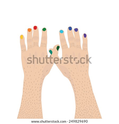 Two mainly hands with nails painted the color of the rainbow to represent the concept of transgender - stock vector