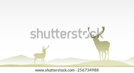Two Male Stag Deers on Misty Moor. Vector EPS 8. - stock vector