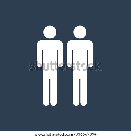 Two male stick figures standing beside each other, gay icon. Friendship icon. - stock vector