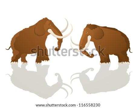 Two mammoth bulls charging, cartoon art - stock vector