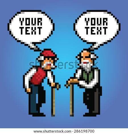 two mature grandfather talking with speech bubbles pixel art style illustration - stock vector