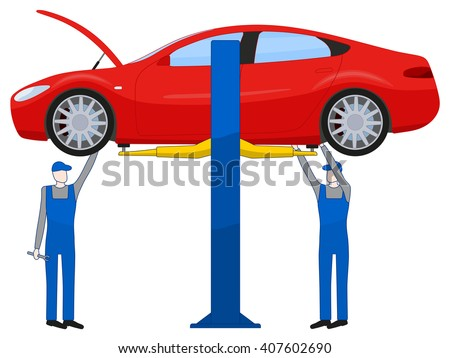 Two mechanic standing under underbody and repairing a car lifted on auto hoist, vector illustration isolated on white - stock vector