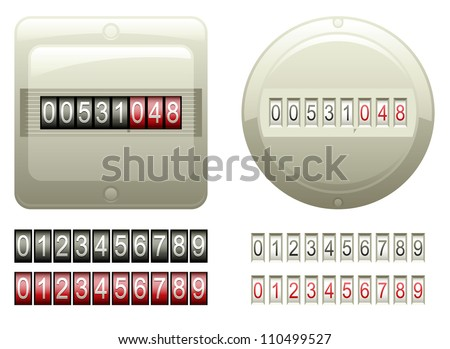 Two mechanical counters and two sets of black and red digits (vector)