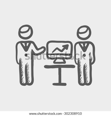 Two men and their business report sketch icon for web and mobile. Hand drawn vector dark grey icon on light grey background. - stock vector