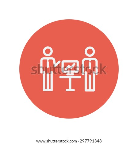 Two men and their business report thin line icon for web and mobile minimalistic flat design. Vector white icon inside the red circle. - stock vector