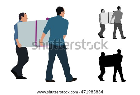Two men carrying a big box