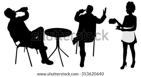 Two men drinking in bar while waitress serving coffee