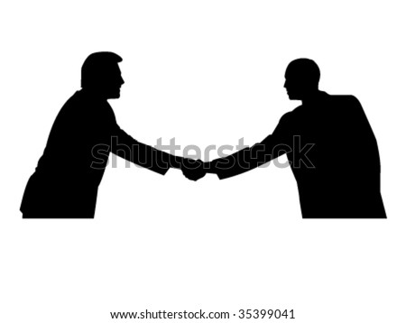 two men handshaking - stock vector