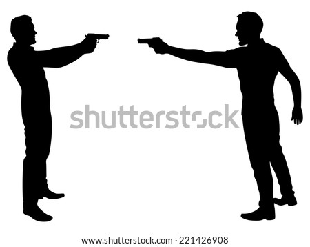 two men in a duel, vector - stock vector