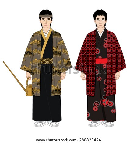 Two men in a kimono. Vector illustration set.