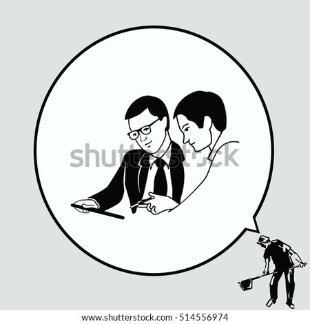 Two men in a suit reading the document. Business meeting. Discussion of business strategy.   Businessman ponders a strategic plan, tactical solutions. Vector illustration.