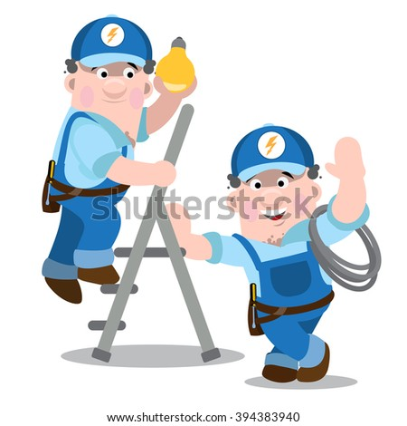 Two men in uniform working darn light. Electricians at work. - stock vector