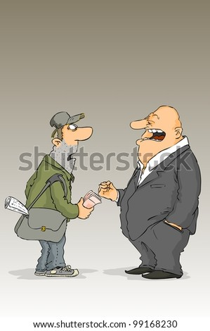 Two men on something dispute among themselves - stock vector
