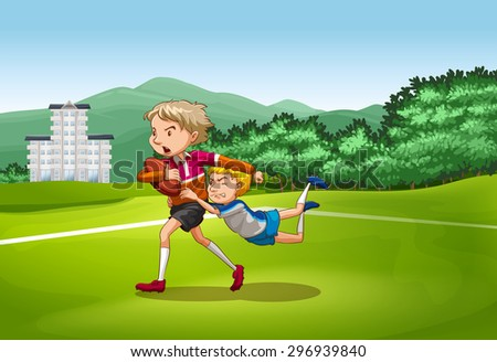 Two men on the field playing  baseball with one man trying to stop another one from winning  - stock vector