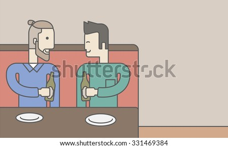 Two men sitting in the bar drinking beer with empty plates on the table. Vector line design illustration. Horizontal layout with a text space for a social media post. - stock vector