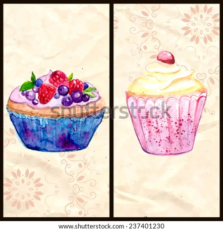 Two menu cover layouts with berries tartlet and pink cupcake. Watercolor illustrations of desserts hand drawn on vintage rumpled paper with pattern. Vector banners for cafe or bakery. - stock vector