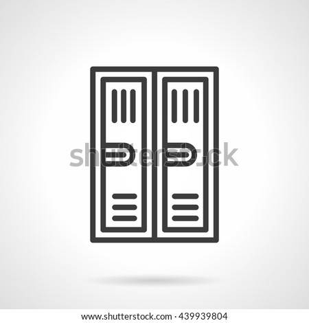 Two metal lockers with keyhole. Equipment and furniture for storage, locker rooms, sports gym and school. Simple black line vector icon - stock vector