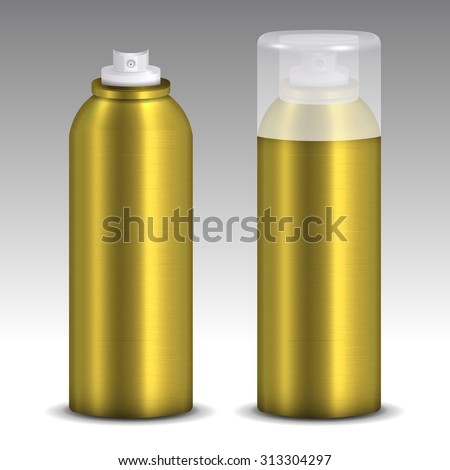 Two metallic gold spray cans model vector, with and without lid on gradient background.