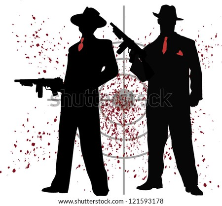 two mobsters - stock vector
