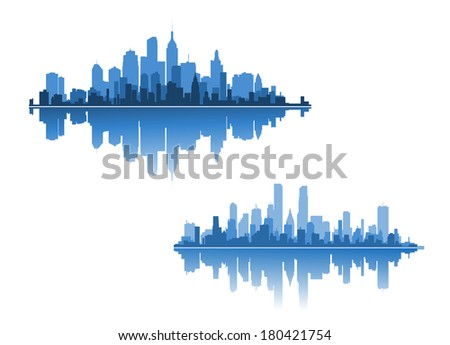 Two modern city skylines for business concepts - stock vector