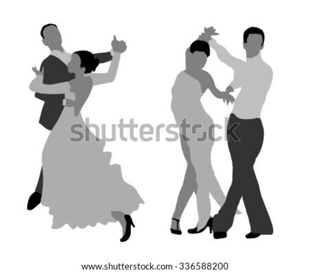 two monochrome dancing couples - stock vector