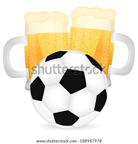 two mugs of beer and a soccer ball - stock vector