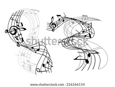 Two music waves with swirling staves or staffs and musical notes and a clef - stock vector