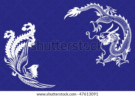 Two mythological animals - a chinese dragon and a phoenix