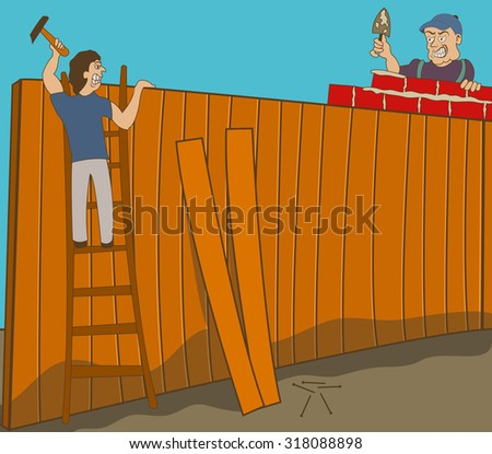 Two neighbors in war are building two different fences on their ground. - stock vector