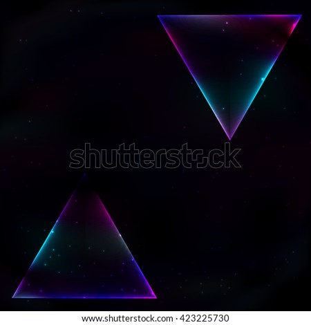 Two neon glowing trianglea in retro style on a space background, hanging from above and below.