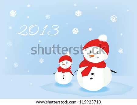 two nice snowmans - stock vector