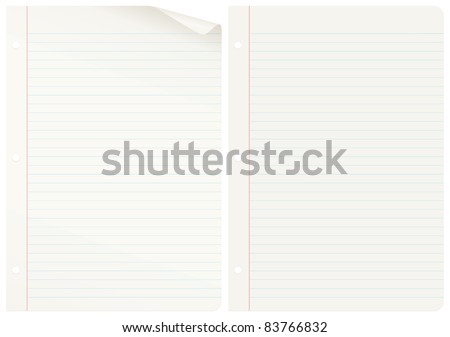 Two notebook pages, one curled up. EPS 8 CMYK with global colors vector illustration. - stock vector
