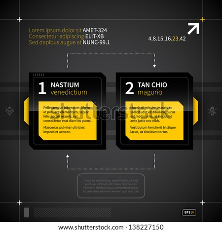 Two numbered squares with different options in techno style. - stock vector