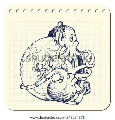 Two octopuses representing oil industry are struggling over domination on the global oil and gas market. EPS8 vector illustration in a sketchy style imitating scribbling in the notebook or diary. - stock vector