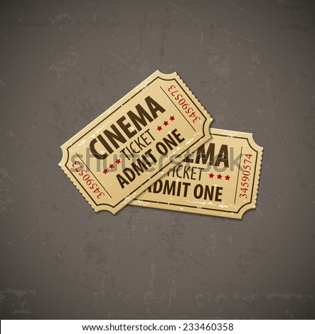 Two old cinema tickets for cinema over grunge background. Eps10 vector illustration. - stock vector