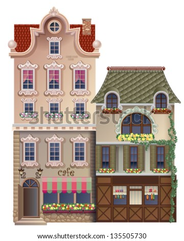 two old houses with mansard roofs - stock vector