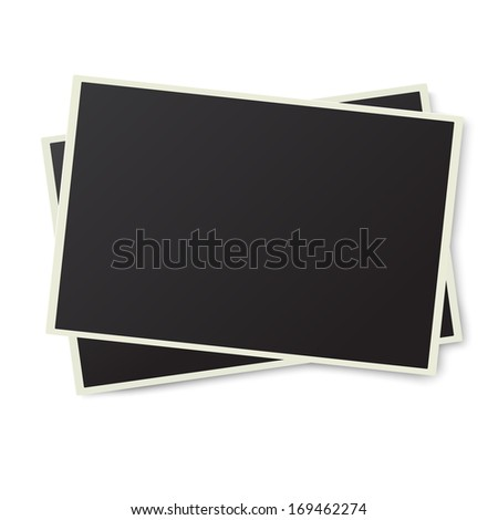 Two old photo frames isolated on white background - stock vector