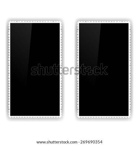 Two Old Photo Frames Isolated on White Background. - stock vector