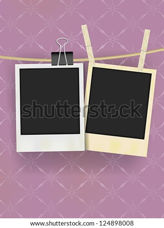 Two Old Retro Blank Photo Frames Hanging on Rope - on Vintage Wallpaper - stock vector