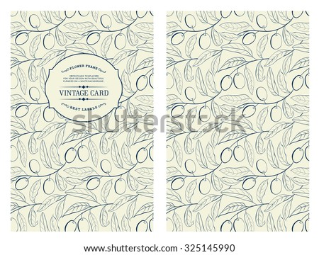 Two olives on branch with leaves isolated on gray. Vintage card with olives on white background. Book cover with olive texture. Blue lines on white background.  Vector illustration. - stock vector