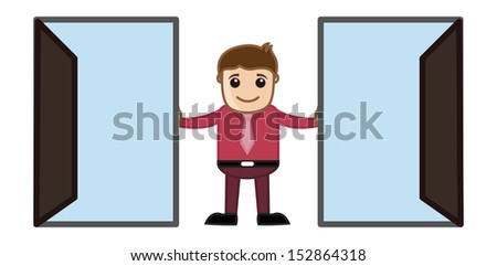 Two Open Doors - Which to Choose Concept Cartoon Business Character