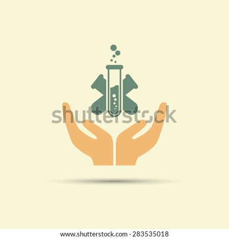 Two open hands holding test tube isolated vector colored icon - stock vector