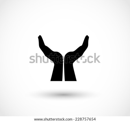Two opened hands in a pray gesture vector - stock vector