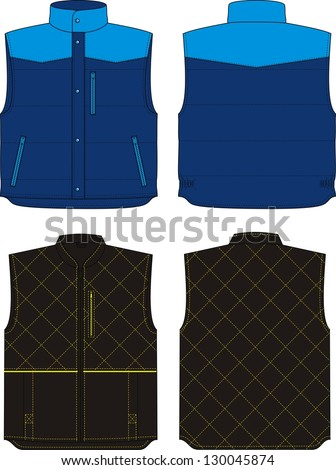 Two options of the warmed vests for men - stock vector