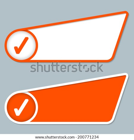 two orange boxes for any text with check box - stock vector