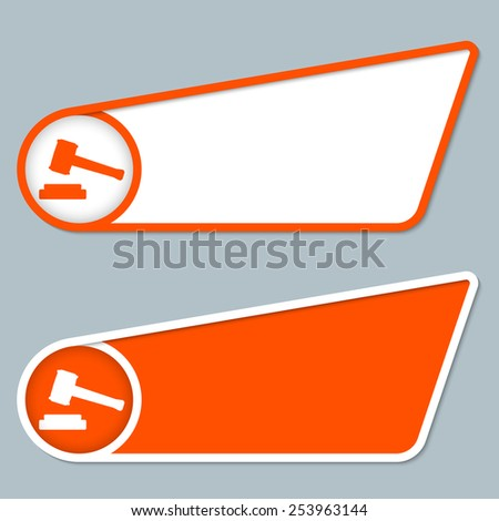 two orange boxes for any text with law symbol - stock vector
