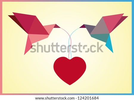 Two origami birds with heart - stock vector